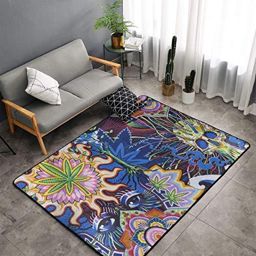 Bedroom Livingroom Sitting-Room Queen Size Area Rug Home Decor - Trippy Marijuana Weed Leaf Skull Floor Pad Rugs Quick Dry Throw Bath Rugs Yoga Mat Non-Slip Throw Rugs Carpet