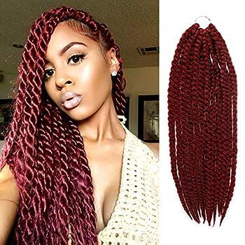 24 Inch 6 Packs AU-THEN-TIC 2X Jumbo Senegalese Twist Crochet Braid Hair Havana Twist Crochet Hair Havana Mambo Twist Crochet Braids Hair Extensions  24 Inch  6 Pack  BURG