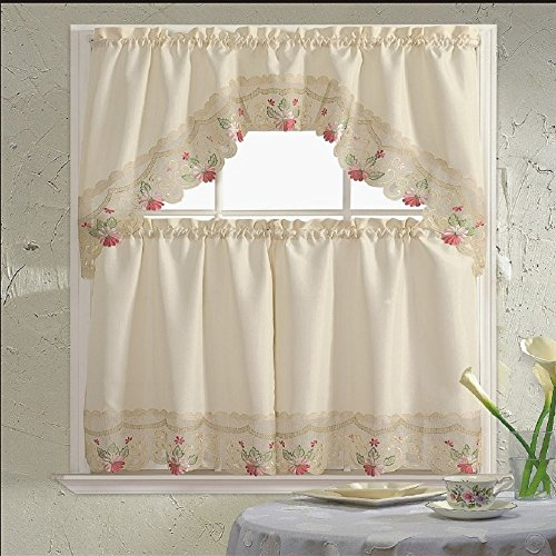 B&H Home Rachel Floral Embroidered 3-Piece Kitchen Curtain Window Treatment (Rachel Rose)