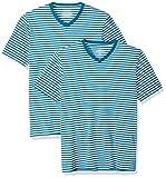 Amazon Essentials - Camisetas de manga corta y corte entallado con cuello en V y diseño a rayas para hombre, Cerceta/Blanco, US S (EU S)
