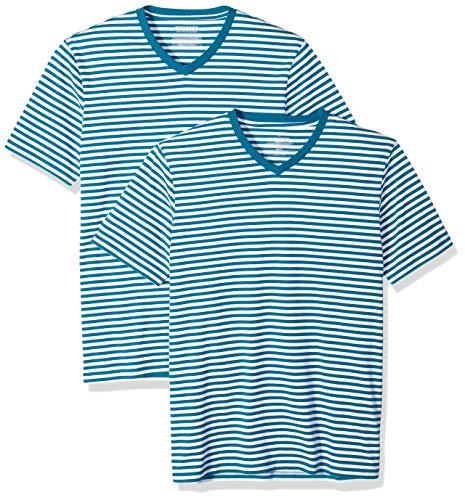 Amazon Essentials - Camisetas de manga corta y corte entallado con cuello en V y diseño a rayas para hombre, Cerceta/Blanco, US M (EU M)