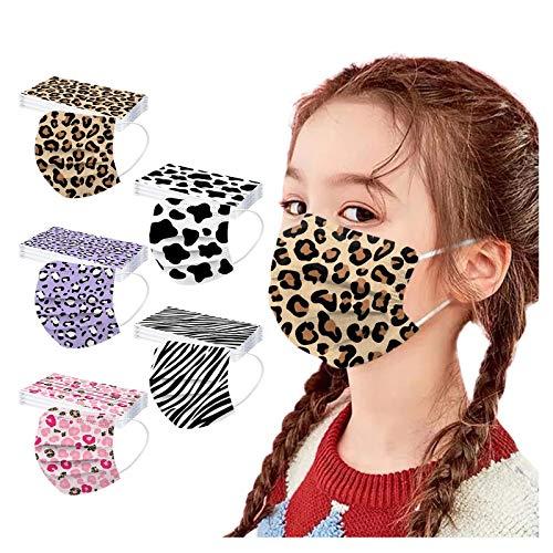 AIchenYW - Lote de 50 mascarillas desechables de 3 capas para niños, protección facial, impresión de diademas lisas para boca, bandana, manta de tela no tejida para rostro