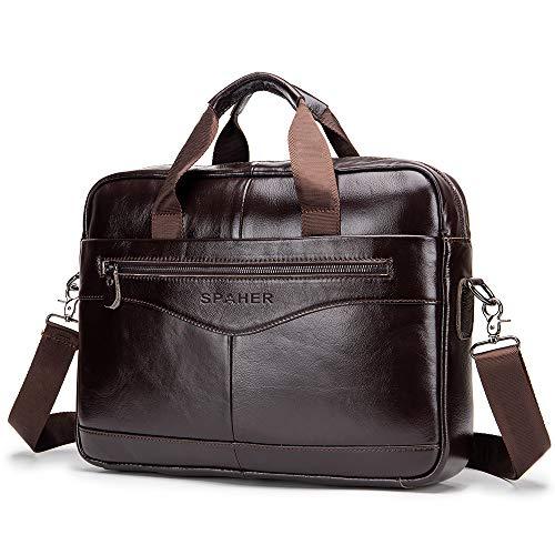 SPAHER Laptop Tasche Leder Herren Aktentasche Dokumententasche Wasserabweisende Computer Tasche Business Bürotasche Umhängetasche Handtasche Messenger Satchel für Männer Frauen Braun