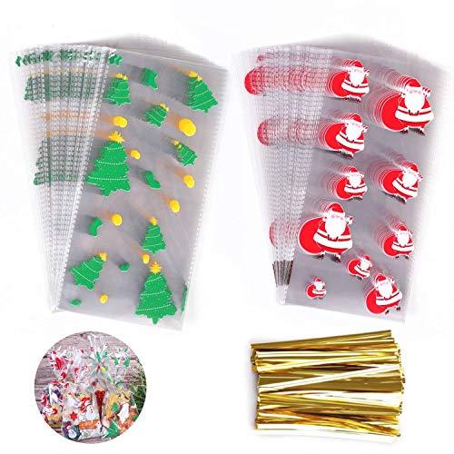 CMTOP Babbo Natale Sacchetti Trasparenti Caramelle Natale Bustine Regalo Plastica Sacchettini Natalizi Compleanno Bambini Biscotti di Natale di Richiudibili Autoadesivi per Regali