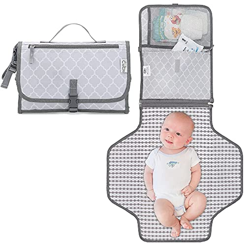 Comfy Cubs Baby Portable Changing Pad, Diaper Bag, Travel Mat Station Grey...
