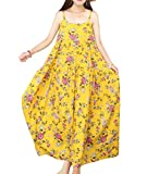 YESNO Women Casual Loose Bohemian Floral Print Dresses Spaghetti Strap Long Maxi Summer Beach Swing Dress XS-5X E75 (XL, As Picture115-Yellow)