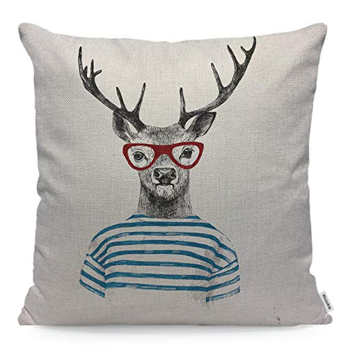 Wozukia Deer Throw Pillow Cover with Red Glasses Dressed up Animal in Hipster Style Trendy Funny Square Pillow Case Cushion Cover for Home Car Kitchen Decorative Cotton Linen Pillowcases 18x18 Inch