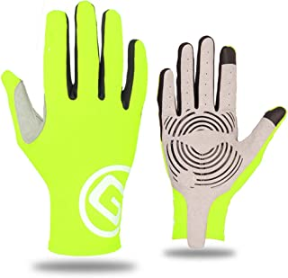 JCCOZ Touch Screen Gloves Riding Sports Gloves Bicycle Trainer Non-Slip Touch Screen Gloves (Color : Green, Size : M)