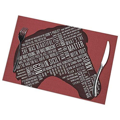 Manteles individuales para mesa Juego de 6 padrinos - Cotizaciones de cabeza de caballo Imprimir Alfombrillas rectangulares Resistentes al calor 45 X 30 Cm