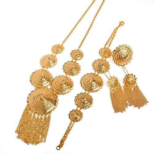 DSHT 21,5 Cm Collar De Fiesta Africana / Pendientes / Pulsera / Anillo De Mujer Accesorios De Compromiso De Oriente Medio / Regalo De Novia Árabe # 071206