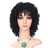 12 Inches Afro Kinky Curly Wig Natural Black Synthetic Hair Short Jerry Curl Black Wigs for Women Color for Women High Temperature Fiber (Black)