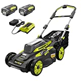 RYOBI RY40LM30-2B 20 in. 40-Volt Brushless Lithium-Ion Cordless Smart Trek Self-Propelled Walk Behind Mower Two 6.0 Ah Batteries & Charger