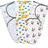 Baby Swaddle Blanket, Swaddle Wrap for Infant (0-3 Month), Adjustable Newborn Swaddle Set, 3 Pack Soft Organic Cotton, Grey/Blue/Yellow