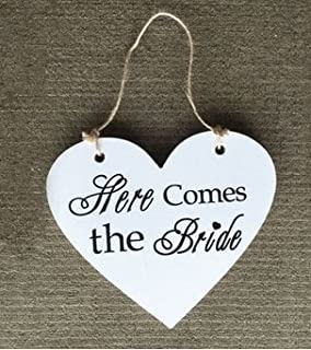 ASIBT Rustic Shabby Chic Wooden Heart Shaped Sign Wedding Decoration Sign, Wedding Flower Girl Sign, Ring Bearer Sign , Crisp Paint, 2-sided