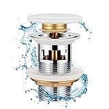 Synlyn Desagüe Universal G1¼'con Rebosadero Válvula de Desagüe de Alta Calidad con Tapa de Cerámica Blanca, Válvula Pop-Up de Cobre Cromado, Vaciador para Lavabo/Tocador
