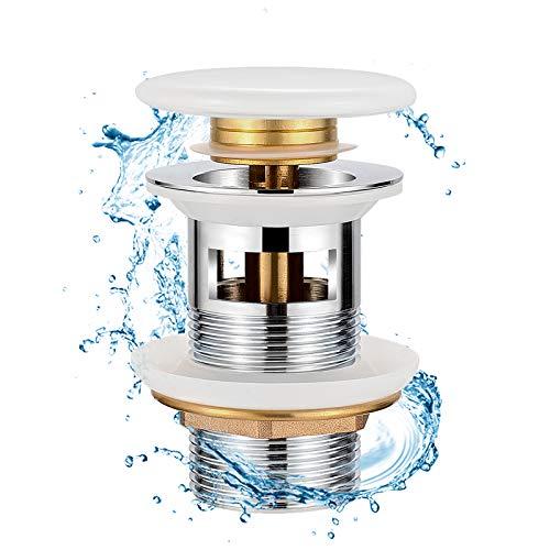Synlyn Universal Ablaufgarnitur mit Überlauf Waschbecken Ablaufventil G1¼