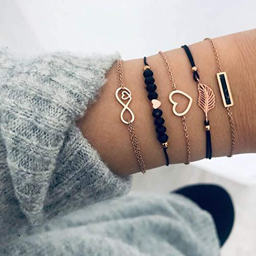 Handcess Boho Black Turquoise Bracelet Sets Gold Heart Bar Bracelets Leaves Forever Hand Chain Beads Hand Accessories for Women and Girls(5 Pcs)