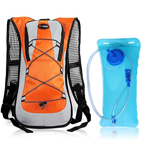 Lixada 5L Bicycle Backpack MTB Bike Cycling Hiking Camping Hydration Backpack Water Bag (Orange Backpack with 2L Water Bladder)