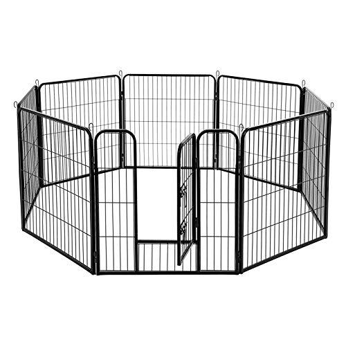 FEANDREA Welpenauslauf Welpenlaufstall Tierlaufstall Freilaufgehege Hundelaufstall Welpenzaun Absperrgitter für Hunde Kaninchen kleine Haustiere 8-Eck schwarz 77 x 80 cm PPK88H