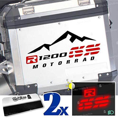 2 adhesivos compatibles con maletas laterales compatibles con R 1200 GS y Adventure Touratech Givi (negro-rojo)