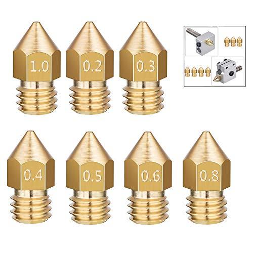 iwobi 16 pezzi Ugello Stampante 3D,Stampante 3D MK8 Estrusore Ottone per CR-10 7,0.2 mm, 0.3 mm, 0.4 mm, 0.5 mm, 0.6 mm, 0.8 mm, 1.0 mm