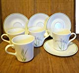8 pc Set Corelle Corning Ware Shadow Iris 4 Coffee Cups / Mugs and 4 Saucers