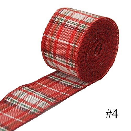 wgd Dai 6 M/Roll Ribbon Imitation Hemp Ribbon, Linen Ribbon Christmas Decoration, Red and Green Snowflake Plaid Ribbon, Wrapping Christmas Tree(5cm X 6M) (Color : 4)