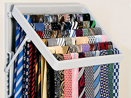 TieMaster (Grey). An Elegant Tie & Scarf Wardrobe Organizer. Showcase up to 60 ties for the perfect choice every time. Space saver with 8 adjustable positions. Wall mounted tie rack. A great Gift Idea