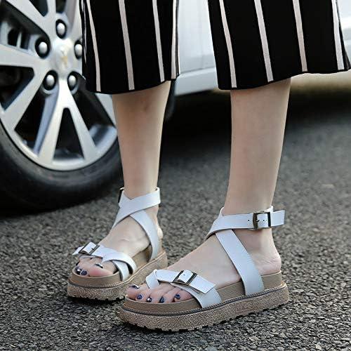 Shukun Dames sandalen Dik-Bodem Grote Maat Romeinse Schoenen Sandalen Vrouwelijke Fairy Wind Hoogwaardig Student Clip Teen Plat Met Kleur: wit