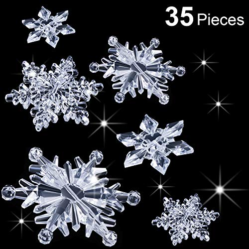 Boao 35 Pezzi Fiocchi di Neve in Cristallo Acrilico Trasparente Ornamenti Ciondolo Albero di Natale Decorazioni Natalizie Fai da Te