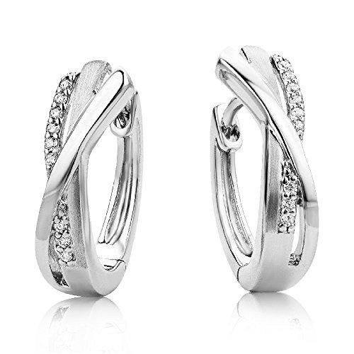 Miore Ohrringe Damen Creolen Stilvolle Ring-Ohrringe aus 925 Sterling Silber mit farblosen Zirkonia-Steinen, Ohrschmuck