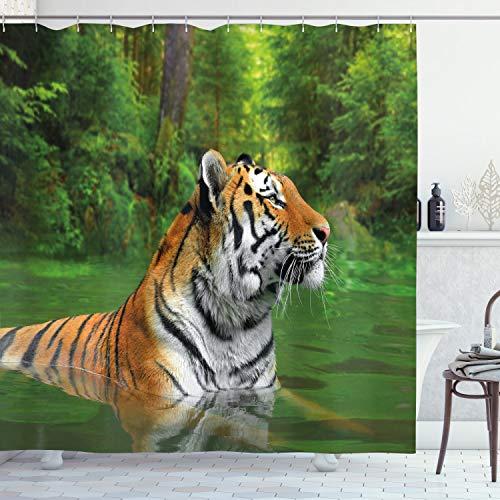 ABAKUHAUS Tiger Duschvorhang, Sibirische Wildkatze in Lake, mit 12 Ringe Set Wasserdicht Stielvoll Modern Farbfest & Schimmel Resistent, 175 x 200 cm, Farn Grün Blass Braun