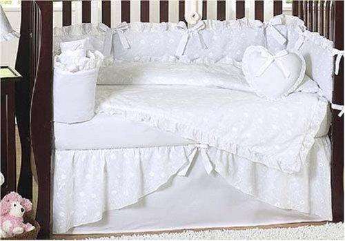 Sweet Jojo Designs Designer Solid All White Eyelet Baby Girl Bedding 9pc Crib Set