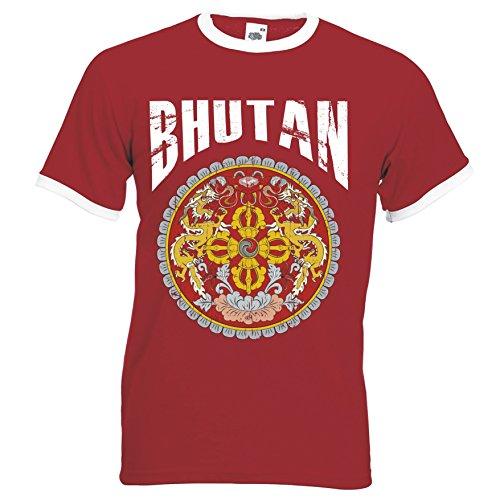 Bhutan Ringer Herren T-Shirt Trikot Fußball WM 2018 T-Shirt - S M L XL XXL -Rot D01 (S)