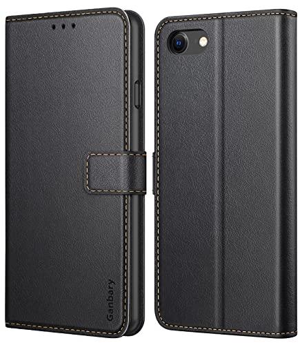 Ganbary Cover compatibile con iPhone 7/8/SE 2020, Premium Pelle PU Portafoglio Flip Libro Libretto Custodia per iPhone 7/8/SE 2020 [Protezione Completa] [Slot per Scheda] [Funzione di Supporto], Nero
