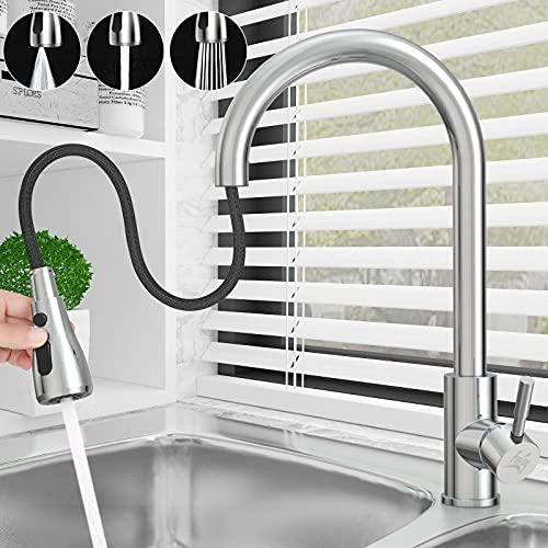 Wasserhahn Küche, Küchenarmatur Spültischarmatur Edelstahl mit 2 Brause Mischbatterie, 360° Schwenkbarer Spültischarmaturen