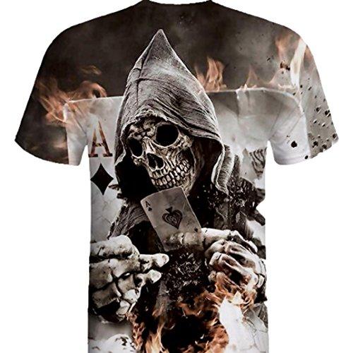 Camiseta de los Hombres,RETUROM Camisa de Manga Corta de la Camiseta de la Manga de la Camiseta de la impresión del cráneo 3D para Hombre (XL)
