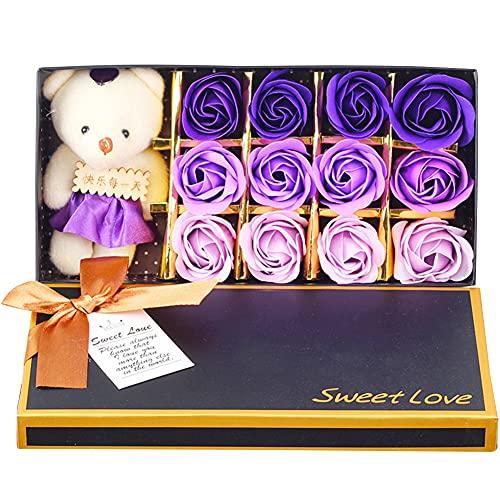 Rose Jabón Flor, NALCY Flor de Jabón, Ramo de Flores de Jabón con Caja de Embalaje Ramo de Rosas Artificiales para el Día de San Valentín, Cumpleaños Regalo, Día de la Madre