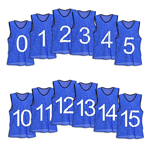 Unlimited Potential Nylon Mesh Numbered Scrimmage Team Practice Vests Pinnies Jerseys for Children Youth Sports Basketball, Soccer, Football, Volleyball (12 Pack, Blue Numbered, Youth)