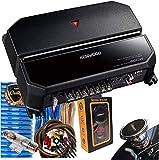 Kenwood 500W 2 Channels Performance Standard Series Stereo Power Car Amplifier with 4 Gauge Blue Amplifer Kit and Gravity Magnet Phone Holder Bundle