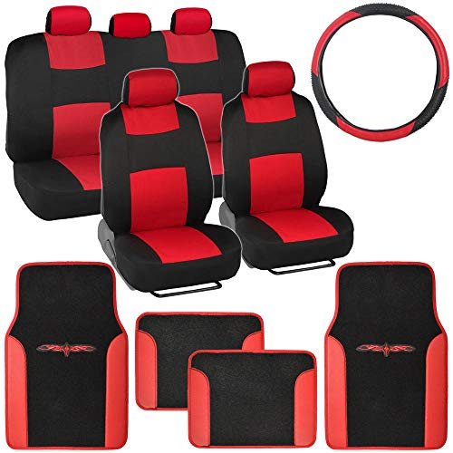 BDK Red Combo Fresh Design Matching All Protective Seat Covers (2 Front 1 Bench) Ergonomic Steering Cover (1 Piece) Heavy Protection Sleek Graphic Auto Carpet Floor Mats (4 Set)