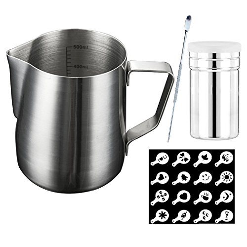 SIPLIV Kit di Strumenti per caffè Art da 20 oz (600 ml) brocche per Espresso brocche per Latte con marcature di misurazione, Penna Art caffè, agitatore per Cacao in Polvere, 16 Stencil per caffè