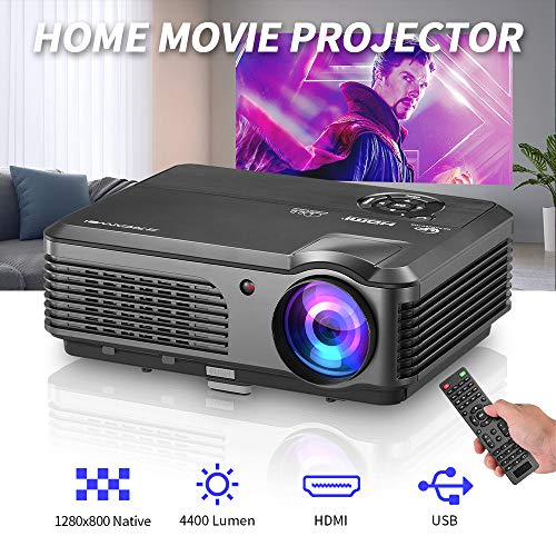 "HD Video Projector 4400 Lumen Home Theater Projector Support 150"" Display 1080p Movie,LED LCD Projector Build in Speaker with HDMI USB VGA for Laptop Computer DVD Player Fire TV Stick"