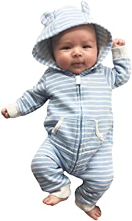 New!! Newborn Kids Girls Boys Hooded Striped Romper with Pocket MS-SM Infant Baby Long Sleeve Zip Stereo Ear Hat Outfits C...