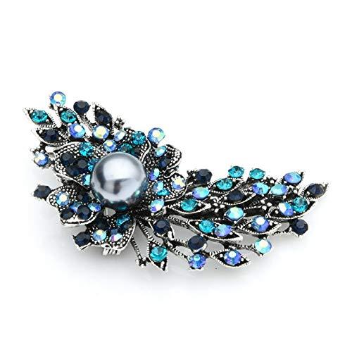 Wuli & Baby, broches de flores de diamantes de imitación multicolor para mujer, nueva aleación de 4 colores, broches de flores de lujo Vintage para bodas, broches para banquetes, regalos