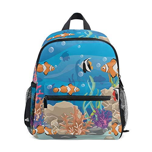 Sea Fish Toddler Backpack Bookbag Mini Shoulder Bag for 1-6 Years Travel Boys Girls Kids with Chest Strap Clip Whistle