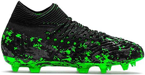 Puma Unisex Future 19.1 Netfit FG/AG Jr Fußballschuhe, Schwarz Black-Charcoal Gray-Green Gecko, 37.5 EU