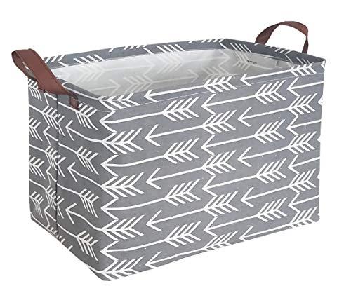 HIYAGON Rectangular Laundry Baskets,Fabric Storage Bin Storage Boxes,Collapsible Storage Basket for Toy, Clothes,Books.Shelves Basket(Grey Arrows)