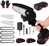 Mini Chainsaw Cordless, Portable 24V Electric Chainsaw,One-Hand Lightweight,Household Small Handheld Electric Saw for Wood Cutting, Tree Pruning (2pcs Batteries +4pcs Chains+2pcs Guide Plate ,Black)