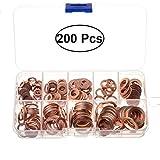 UKCOCO 200pcs arandela de cobre arandela surtido arandelas de sellado métricas planas